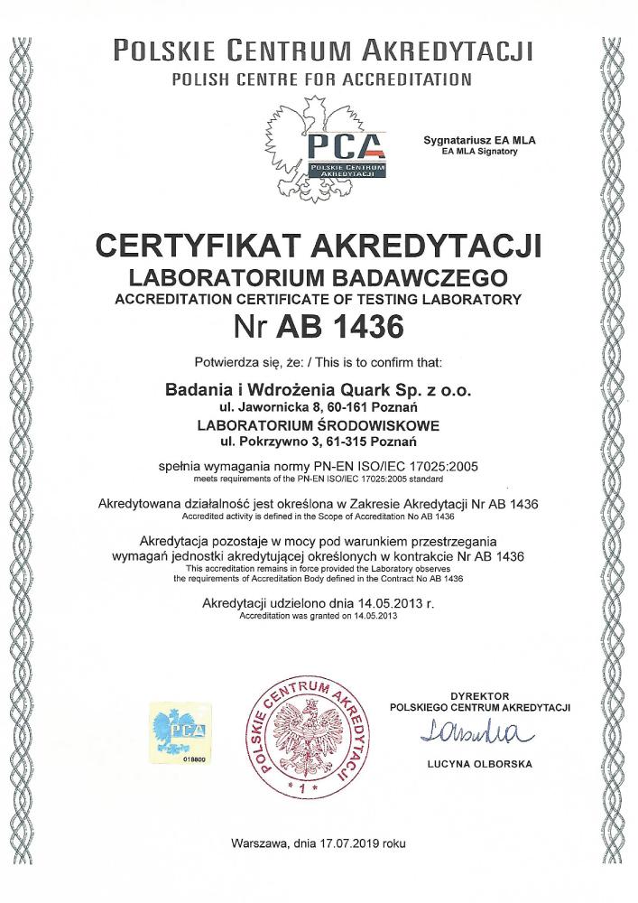 Certyfikat akredytacji - Laboratorium środowiskowe BW Quark